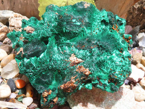 Natural Large Silky Malachite Specimens x 6 from Kasompe ,Congo