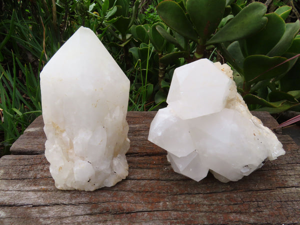 Natural Large Cascading Candle Quartz Crystals x 2 From Madagascar