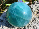 Polished Emerald Fluorite Balls x 2 from Madagascar