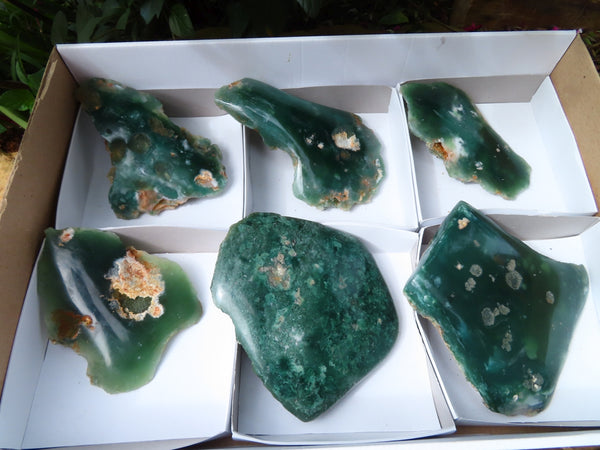 Polished One Side Mtorolite Emerald Chrysoprase Plates x 6 From Mutorashanga, Zimbabwe