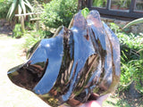 Polished XXL Morion Black Quartz Flame Sculpture x 1 from Madagascar