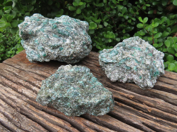 Natural Green Emeralds In Matrix x 3 From Zimbabwe