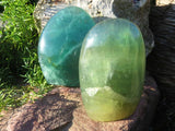 Polished Large Emerald Fluorite Standing Free forms x 6 from Madagascar