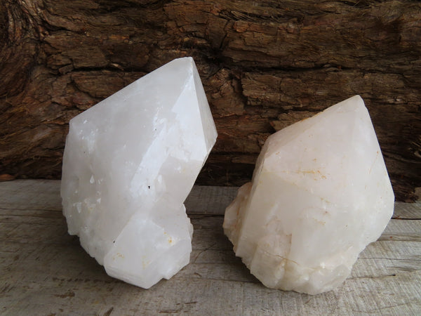 Natural Large Candle Quartz Crystals x 2 From Madagascar