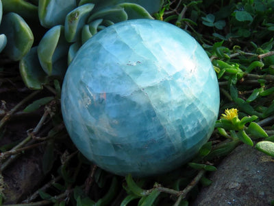 Polished Aquamarine Quartz Crystal Ball x 1 from Angola
