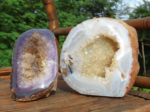 Polished Crystalline Amethyst & Agate Standing Geode Display Pieces x 2 from Mainterano, Madagascar