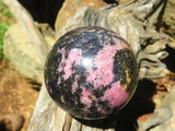 Polished Rhodonite Spheres & Freeform x 3 from Madagascar