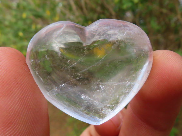 Polished Mini Gemmy to Optic Rock Crystal Quartz Hearts x 20 from Madagascar