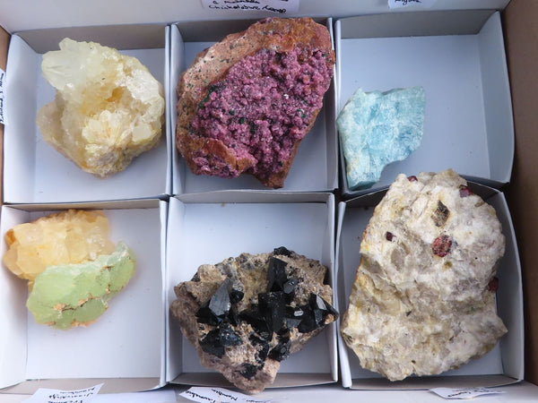 Natural Mixed Mineral Specimens (Salrose, Prehnite, Aquamarine, Tourmaline and More) x 6  from Southern Africa