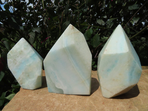 Polished  Blue Smithsonite Aragonite Crystal Points x 3 From Congo