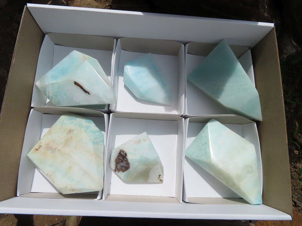 Polished  Small Blue Smithsonite Aragonite Crystals x 6 From Congo