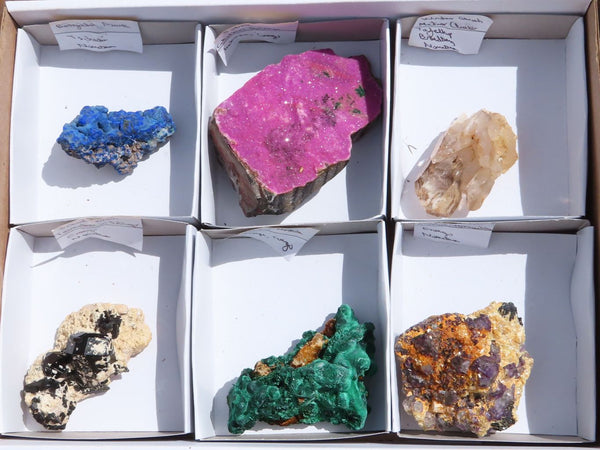 Natural mixed Labelled Mineral Specimens for Collectors x 6  from Southern Africa