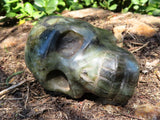 Polished Agate & Labradorite Skull Sculptures x 2 from Madagascar