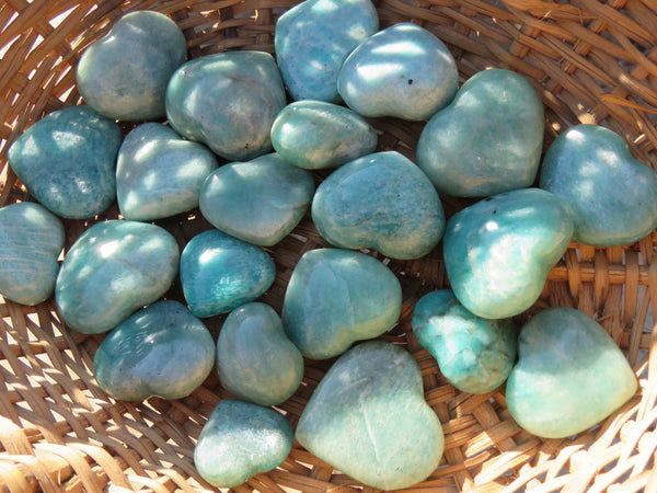 Polished Small Amazonite Gemstone Hearts - sold per 500 g from Madagascar