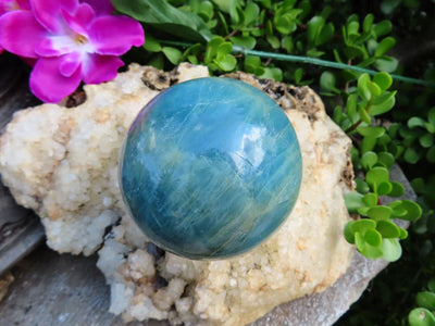 Polished Aquamarine Sphere Great Colour x 1 from Angola