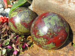 Polished Small Bastite (Epidote & Piemontite) Spheres x 2  from Tshipise , South Africa