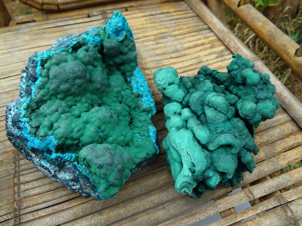 Natural Large Beautiful Malachite & Malachite with Chrysocolla Specimens x 2 from Congo