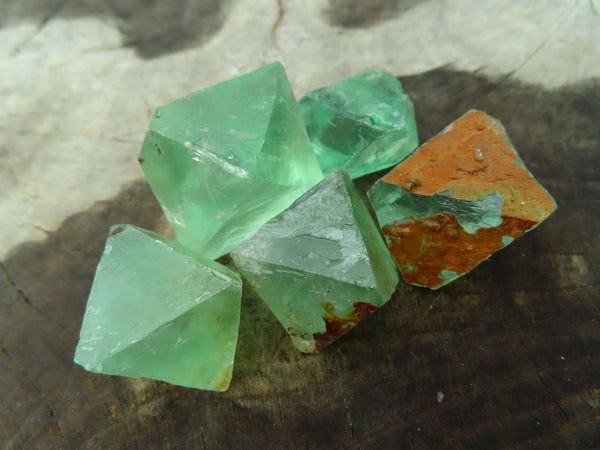 Natural Small to Medium Sized Fluorite Bipyramidal Octahedron Crystals x 71 from Riemvasmaak, South Africa