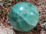 Polished Mixed Size Emerald Green Fluorite Balls x 12 from Madagascar