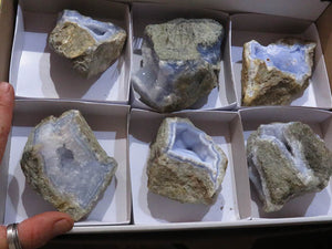 Natural Large Blue Lace Agate Geodes x 6 from Sanje, Malawi