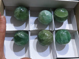 Polished Emerald Green Fluorite Balls x 6 from Madagascar
