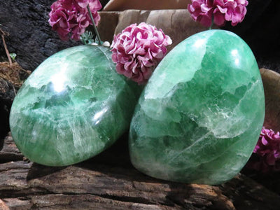Polished Green Fluorite Standing Freeforms x 2 from Madagascar