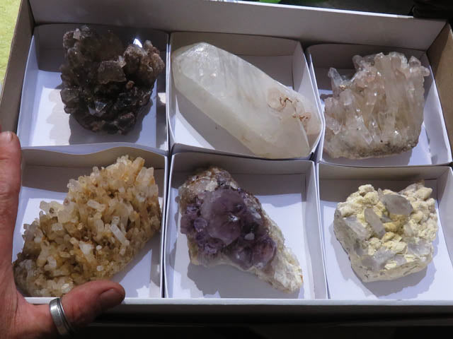 Natural Large Mixed Quartz Clusters x 6 from Southern Africa