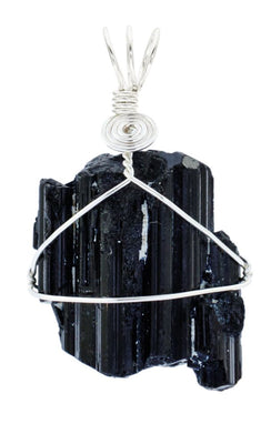 Natural Black Tourmaline Silver Plated Wire Wrap from South Africa