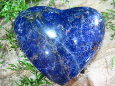 Polished Sodalite Hearts x 6 from Namibia