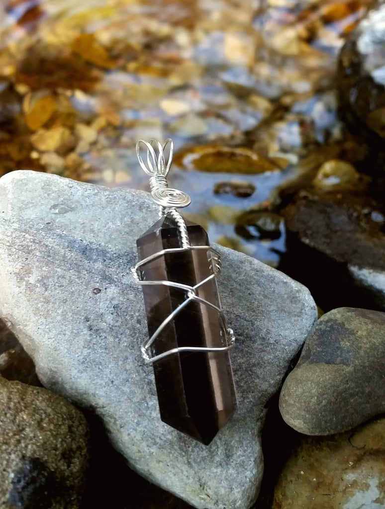 Smokey Quartz Silver Plated Wire Wrap from South Africa