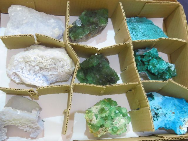 Natural Mixed Specimens (Box of Blue & Green) x 9 from Mixed Localities