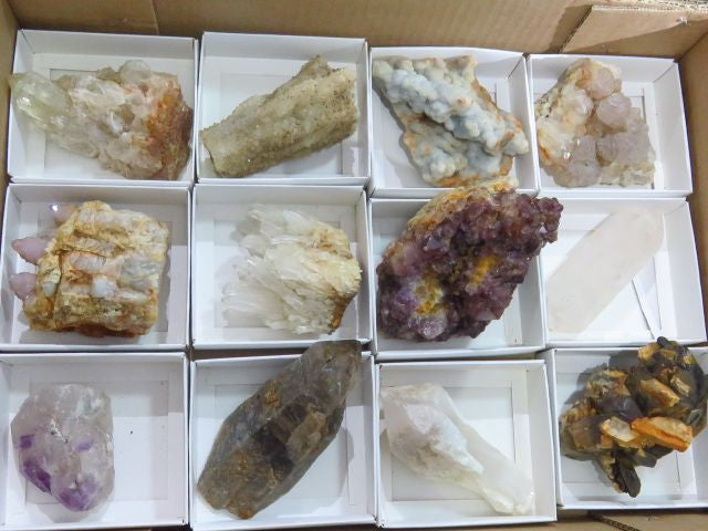 Natural Mixed Quartz Crystals x 12 from Mixed Localities