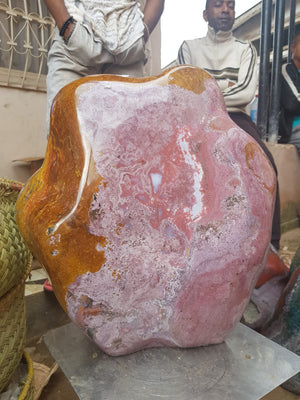 PRE-ORDER: Polished Exceptional XXL 39 Kg Pink and Orange Ocean Jasper Standing Free form x 1  from Madagascar