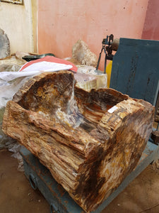 PRE-ORDER: Polished and Natural XXXXL 96 Kg Petrified Wood Log Bowl x 1  from Madagascar
