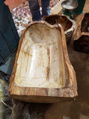 PRE-ORDER: Polished Monster 108 Kg Extra Long Petrified Wood Bowl x 1  from Madagascar