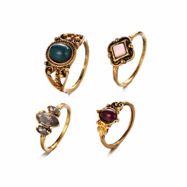 Beltania Multi-color Turkish Ring Set (4 Pieces)