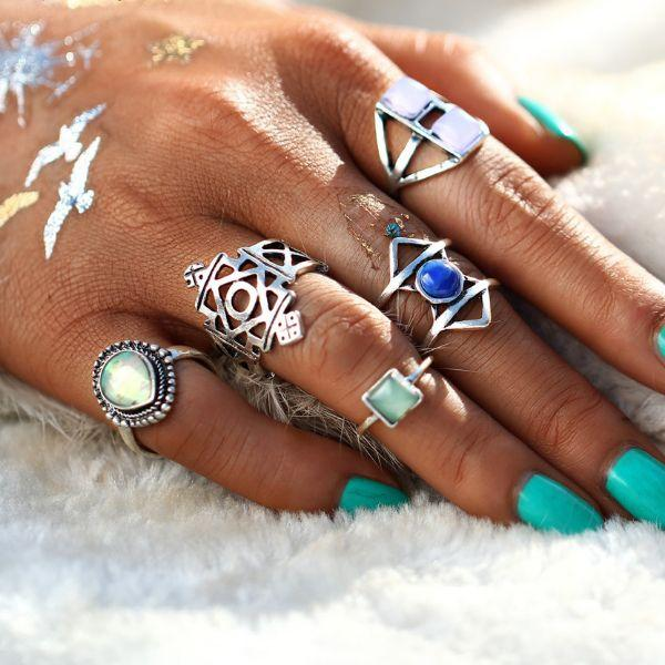 Binx Opal Ring set (5 Pieces)