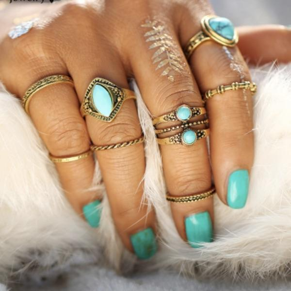 Jasper Knuckle Ring Set (8 pieces)