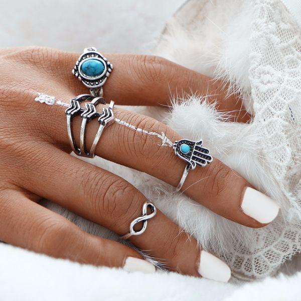 Fatima Hamsa Ring Set (4 Pieces)