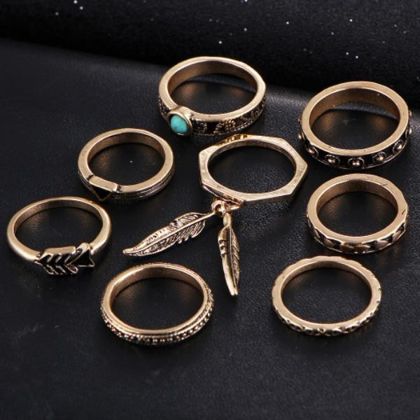 Olivine Leaf Ring Set (8 Pieces)