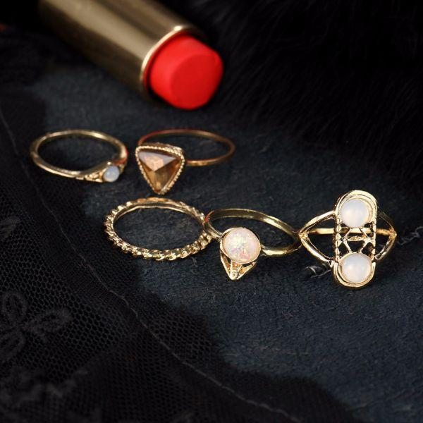Kara Opal Midi Ring Set (5 Pieces)