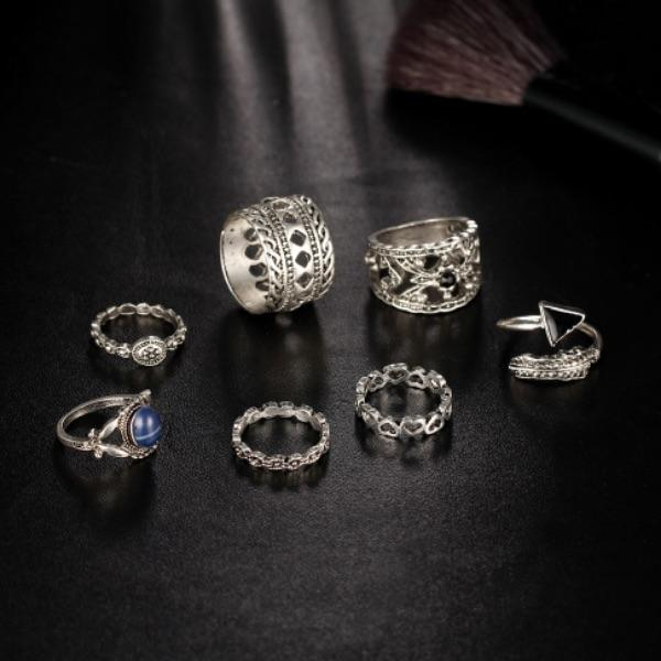 Hazan Vintage Turkish Ring Set (7 Pieces)
