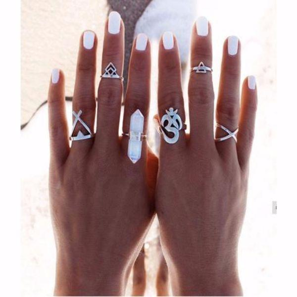 Aum Moonstone Ring Set (6Pieces)