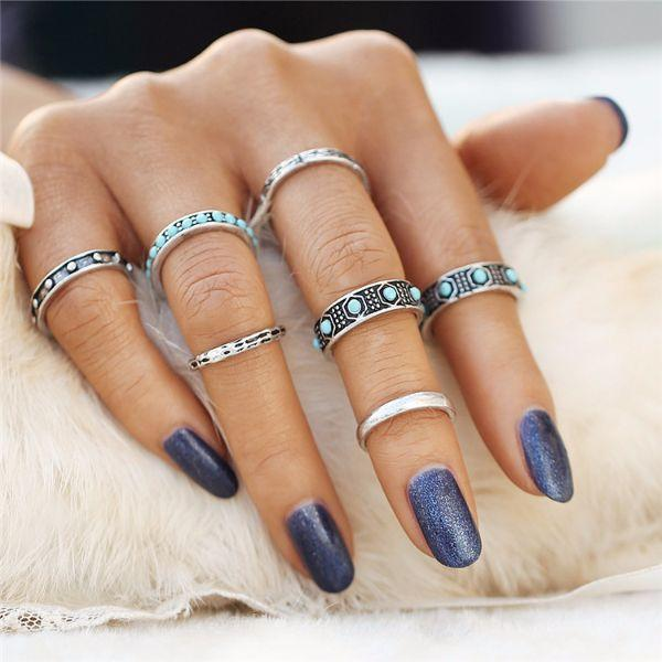 Deniz Beads Ring Set (7 Pieces)