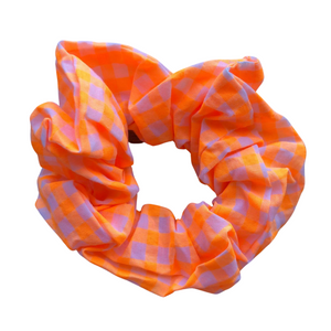 Orange Gingham Scrunchie