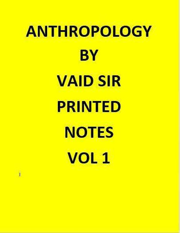 Anthropology optional Printed  Notes – Vaid's Sir-English