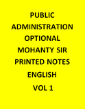 Public Administration optional – Mohanty Sir – Printed Notes-English