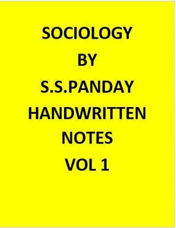 Sociology Optional -S.S. Pandey Handwritten class notes-Hindi