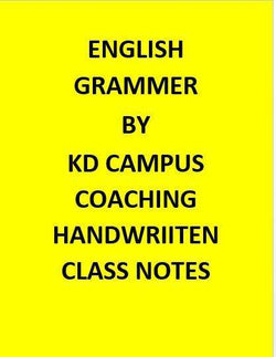 KD Campus Coaching Handwriiten Class Notes Of English Grammer
