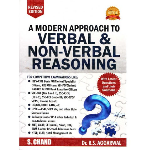 S. Chand Publication [A Modern Approach to VERBAL & NON-VERBAL REASONING (English) Paperback] by Dr. R. S. Aggarwal